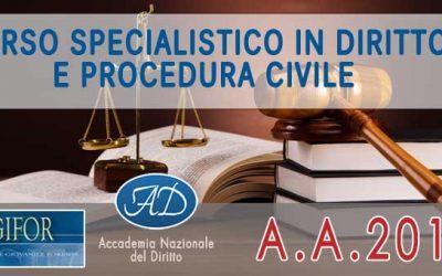 Corso Specialistico in Diritto e Procedura Civile 2018
