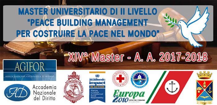 Master Universitario di II Livello in Peace Bulilding Management – per Costruire la Pace nel Mondo – XIV° Master – A. A. 2017-2018